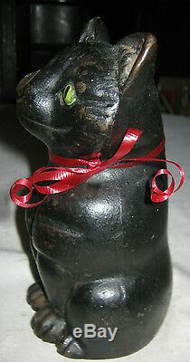 Statue Antique Noir Fat Cat Doorstop Fonte Home Office Sculpture 7 Lbs