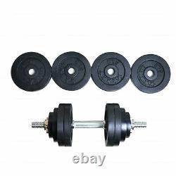 Tous Fer 50lb 52.5lb Poids Réglable Dumbbell Gym Plein Métal Noir Plaqué