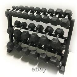Tout Nouveau 5-50lb Rubber Hex Dumbbell Set + 48 3-tier Rack Commercial Crossfit