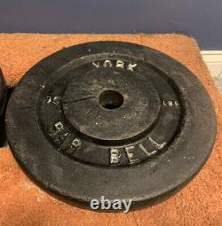 Utilisé 2 Lot Vintage 75 Pound York Barbell Weight Plates (150 Lbs Au Total)