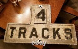 Vintage Antique Rr Railroad Cast Iron 4 Tracks Signe 27.5 X 17 X 3/4 33lbs
