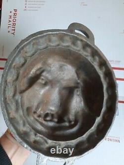 Vintage Cast Iron Pig's Head Face Baking Pan Moule Moule À Cochon 6 Lb Fer