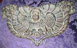 Vintage Cherub Angel Fonte Repousse Coeur 22x14 16lb Coeur Plaque Fleurs