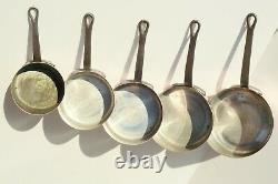 Vintage Copper Pan Sauce Pan Ensemble De 5 Poignées En Fonte Doublées D'étain 8.8lbs