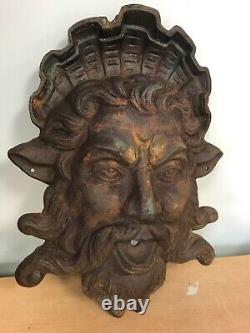 Vintage Fonte De Fer Poseidon Neptune Fontaine Spitter Spout 18 16 Lbs Yard Art
