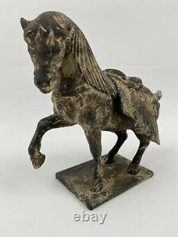 Vintage Fonte Tang Dynasty Look Cheval Statue 5.4 Lbs 7.75h X 8.5 L X3.75w