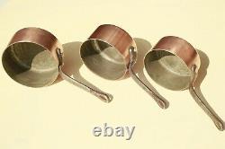 Vintage Français Copper Sauce Pan Set 5 Poignées En Fonte Doublée D'étain 1.5-2mm 11.7lb