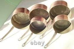 Vintage Français Copper Sauce Pan Set 5 Poignées En Fonte Doublées D'étain 2mm 11.9lbs