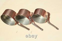 Vintage Français Copper Sauce Pan Set 5 Poignées En Fonte Doublées D'étain 2mm 14.8lbs