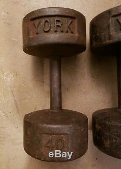 Vintage York 40lb Paire Fonte Roundhead Haltères Poids Tête Ronde Bent