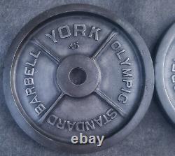Vintage York 45 Lb Plaques De Poids Olympique Moulues (90 Livres Au Total)