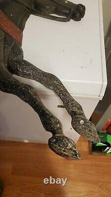 Vtg Rare 43lb Cincinnati Stove Works Cast Iron Horse Rider Publicité Folk Sign