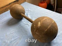 Vtg Strongman Globe Ball 58.5 Lb Dumbbell Dumbell Circus Cast Iron Carnival Rare