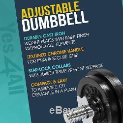 Yes4all 200 Lb Adjustables Set Fonte Haltère Haltère Poids Plaques Workout