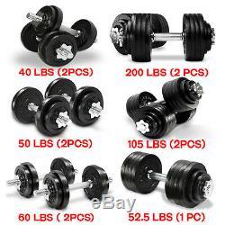 Yes4all 40 Set Haltère 200 Lb Fonte Poids Réglable Fer Haltères Fitness