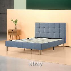 Zinus Lottie Upholstered Square Stitched Platform Bed, Ardoise Bleue